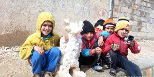 بچه ها و بارش برف روستای گنک